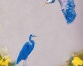 Herons Print -Two Blue Heron Giclee Woodblock Fine Art