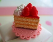 Strawberry and Whipped Cream Cake Ring Free Lip Balm Sent with Order