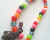 Fake Chocolate Bunny and Jelly Bean Necklace Free Shipping to the United States