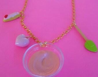 Pink Cake Batter Charm Necklace