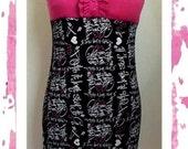 D-JENN Super Kawaii Punk DIY Letters Print Tube Dress M