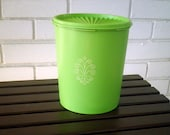 Vintage Apple Green Plastic Canister with Lid by Tupperware