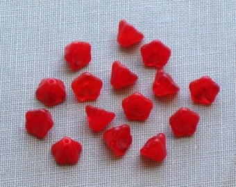 Red Glass Flowers - 16 Red Czech Glass Bell Flower / Tulip Beads - Semi Irredescent Red Glass Bead Destash Floral Beading Crafting Supplies