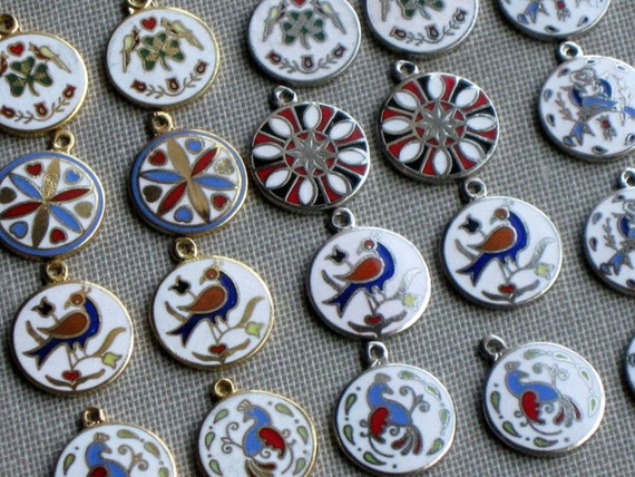 20 Vintage Enamel Dutch Hex Charms 12mm Goldtone and Silvertone Mix