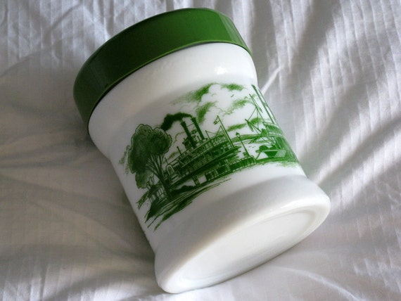 Vintage White Milk Glass Jar with Green Plastic Lid and River Boat Decals
