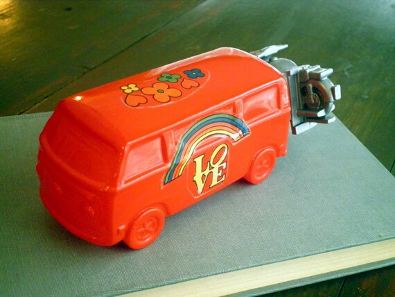 Vintage Avon Volkswagen Red Love Bus After Shave Glass Bottle