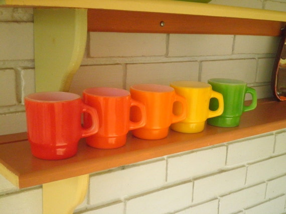 Vintage Anchor Hocking Fire King Citrus Rainbow Cup / Mug - Set of 5 - One in Each Color, Circa 1950s