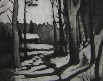 Snowy Road Intaglio Print
