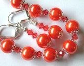 Orange Bracelet and Earrings Orange Pearl Bracelet Swarovski Crystal Silver