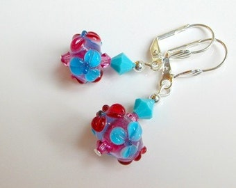 Pink Turquoise Earrings Flower Earrings Lampwork Earrings Swarovski Crystal Silver