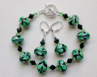 Green Black Bracelet Earrings Lampwork Beads Swarovski Crystal Silver