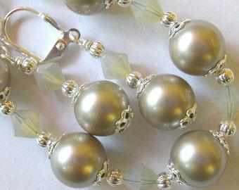 Pearl Bracelet Swarovski Platinum Pearl Bracelet Earrings Crystal and Silver