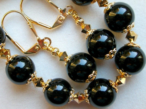 Gold Black Onyx Bracelet Earrings Swarovski Crystal