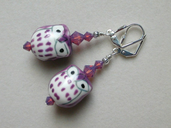 Owl Earrings Purple Owl Earrings  Ceramic Swarovski Crystal Silver