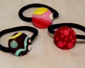 Fabric Pony Tail Holders - Set of 3