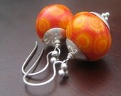 Retro Dots Earrings - lampwork glass and sterling silver