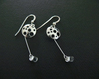 Circles, Discs and Dangling Beads Sterling Silver Hooks Earrings
