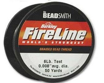 FIRELINE Braided Thread Beading Cord  50  yd spool smokey Grey or Crystal 4 lb & 6 lb Beadweaving Jewelry Making