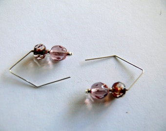 Hand made Earwire earrings Sterling Silver and czech glass beads