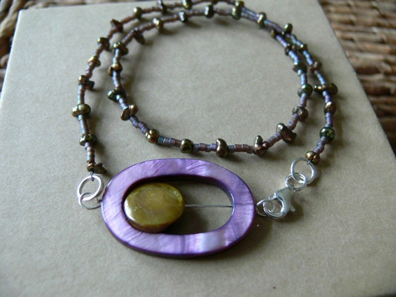 Oval Lavender Pearls Pendant on A Delicate Pearls Choker Necklace