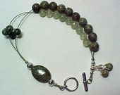 Dual Purpose Stitch Marker Holder And Abacus Row Counter Bracelet With Genuine Gemstones - Item No. 320
