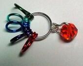 Stitch Marker - Swarovski Hyacinth Crystal - Knitting 5 Row Counter - US 10 - Item No. 349