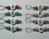 Letter Stitch Markers  - US 5 -  Multi-Colored Spectra Glass -  Item No. 17