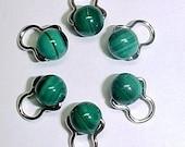 Stitch Markers - Malachite Needle Huggers - Genuine Gemstone on Sterling Silver -  Set Of 6 - US 4 - Item No. 672