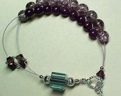 Knitting and Crochet Row Counting Abacus Bracelet - Viola - Violet Fossil Beads - Item No. 492