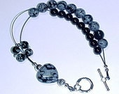 Hearts Desire Abacus Row Counter Bracelet - Snowflake Obsidian and Black Onyx -  Item No. 603