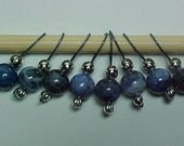 Stitch Markers - Blue Denim Sodalite Gemstone Beads - US 5 -  Set of 8 - Item No. 460