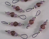 Lovely Amethyst Heart Stitch Markers on Plum Purple Wire With Storage Tin  - US 5 - Item No. 697
