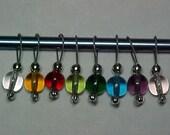 Rainbow Czech Glass Stitch Markers - Storage Tin Included - US 10 - Set of 8 - Item No. 786