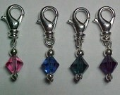 Removable Stitch Markers - Multi-Colored Swarovski Crystals With Lobster Claws -  Set Of 4 - Item No. 814