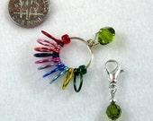 Handmade Stitch Marker - Rainbow Row Counter - Counts Up To 110 Rows - Swarovski Olivine Crystal  - Size US 10  - Item No. 826