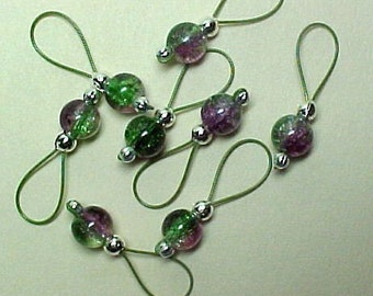 Stitch Markers - Purple And Green Crackle Glass On Khaki Wire - US 10 - Item No. 542