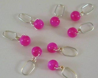 Handmade Knitting Stitch Markers - Fuchsia Mother of Pearl - Set Of  8 - US 5 - Item No. 663