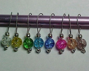 Stitch Markers - Rainbow Crackle Glass Beads - Storage Tin Included - US 5 - Set of 8 - Item 788