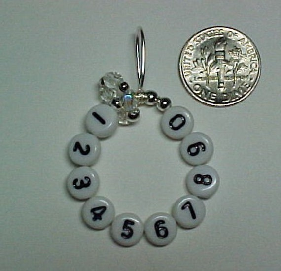 Stitch Marker - Crystal Glass and Silver - 10 Row Counter Original Mighty Mini - US 10 - Item No. 470