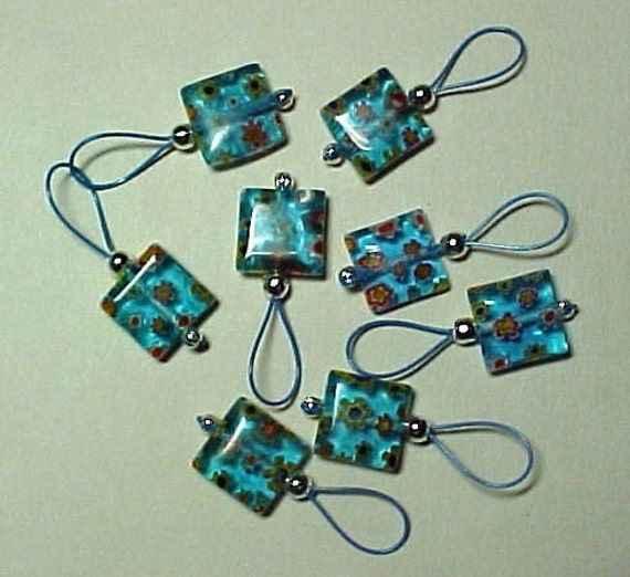 Turquoise Millefiori Stitch Markers - Set of 8 - US 10 - Item No. 536