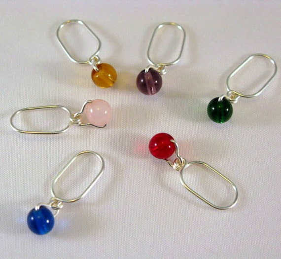 Knitting Stitch Markers - Multi-Colored Suspended Beads -  Set Of 6 -  US 10- Item No. 664