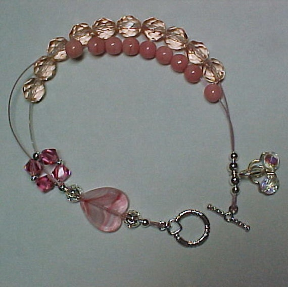 Passionately Pink - Dual Purpose Stitch Maker Holder and Abacus Row Counter Bracelet - Item No. 834