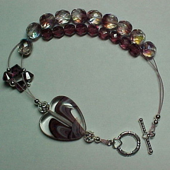 Purple Heart - Abacus Row Counting Bracelet for Knitting and Crochet - Item No. 850