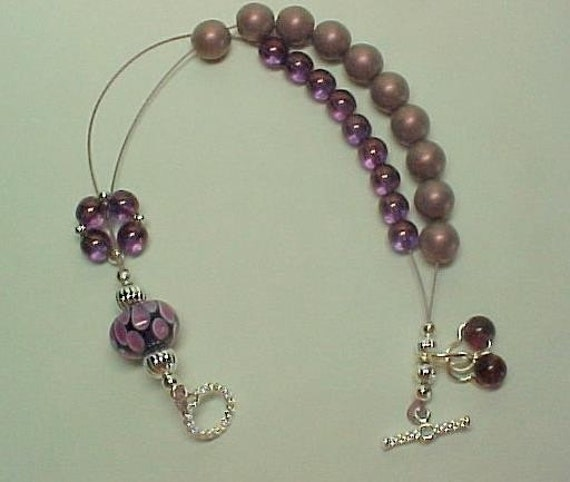 Mad About Mauve - Stitch Marker Holder and Abacus Row Counter Bracelet - Item No. 192