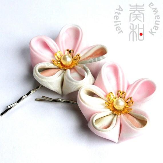 SALE- Vintage Kimono Ume (Plum Blossom) Tsumami Kanzashi Bobby Pin Set