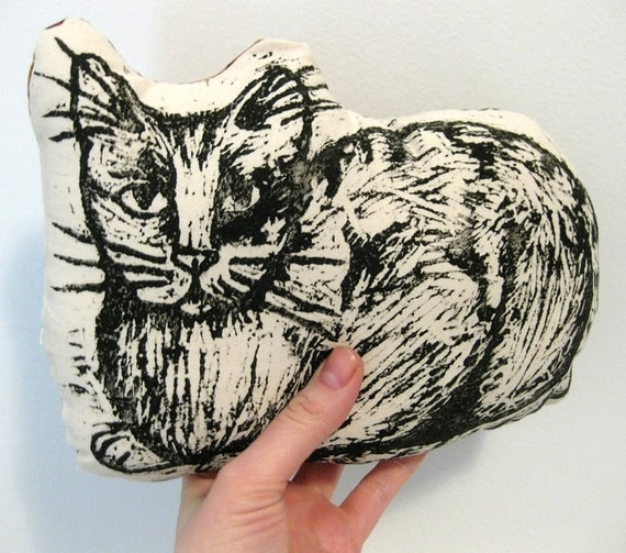 Cat Pillow - block printed with purple, orange and green leaf backing