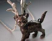 Storm the reindeer kitty, sterling silver cat pendant with antlers, Cat jewelry, made to order