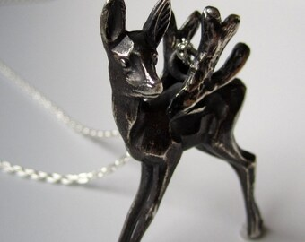 Mariposa, sterling silver winged fawn pendant, ready to ship