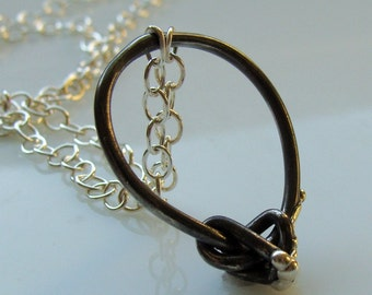 Simple knot melting, sterling silver necklace, one of a kind, ooak