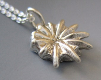 Anemone pendant, sea inspired sterling silver necklace